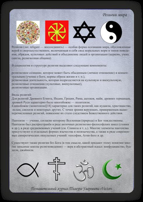 познавательный журнал Тимура Уваровита Vector, религии мира