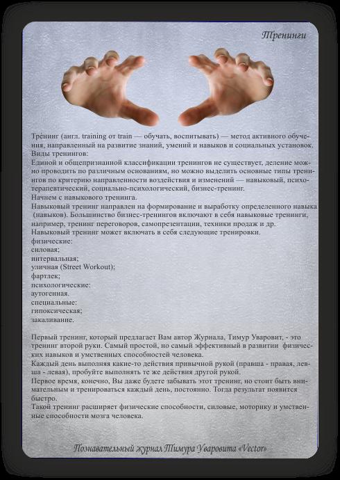 познавательный журнал Тимура Уваровита Vector, тренинги